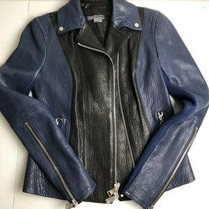 Vince Blk/blu colorblock leather scuba MOTO jacket